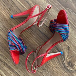 Zara Woman Red Multi-Colored Ankle Strap Heels